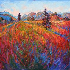 Scarlet Pines, vivid stylized oil painting with vivid mosaic color, by artist Erin Hanson Landscape Art, Landscape Paintings, Erin Hanson, Modern Impressionism, Impressionist Paintings, Matisse, Oeuvre D'art, All Art, Amazing Art