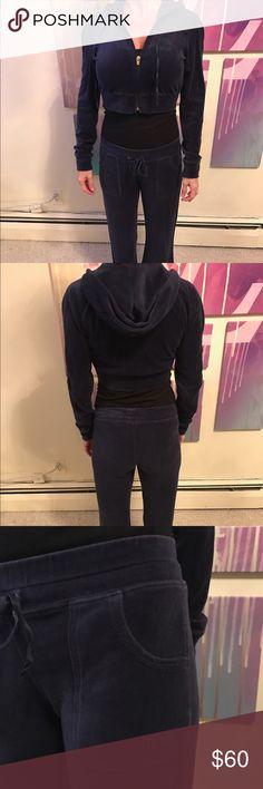🚨LOWEST PRICE🚨Jumpsuit Velour Bebe Blue Velour Bebe JumpSuit XS bottoms and Sm Cropped Hoodie. Non Smoker No Trades bebe Pants Jumpsuits & Rompers