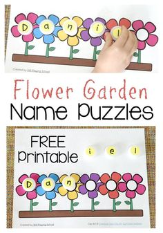 Flower Garden Name Puzzle Printable for preschoolers to learn to spell their names! Kids love this for Spring!