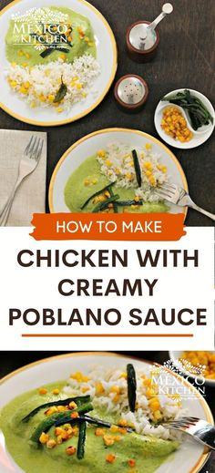 """This Chicken with Creamy Poblano Sauce is another excellent and delicious way to cook Poblano peppers, besides using them to make the famous """"Chiles Rellenos,"""" the stuffed peppers, or for rajas con crema, Poblano strips with cream. Easy and Ready in only 35 minutes. Poblano Sauce, Mexican Chicken Recipes, Stuffed Poblano Peppers, Chicken Cutlets, Chicken Fajitas, Creamy Sauce, Chicken Seasoning, Cooking Time, Curry"""