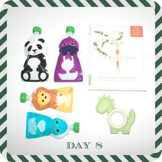 FitBump 12 Days of Fitness Giveaway: Day 8: Mom-and-Baby Healthy Nosh Package  A trio of items ($50 value) for the family that nibbles together: For baby, a four pack of Squooshi reusable food pouches and a MiYim My Natural Eco Teether. For you, Thrive Foods, a cookbook, by Brendan Brazier, noted authority on vegan eating and creator of the Vega line of food products, filled with 200 plant-based recipes.