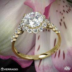 18k Yellow Gold Verragio Round Halo Diamond Engagement Ring