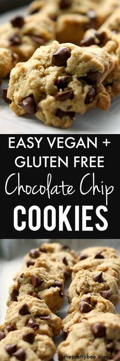 Easy Gluten Free and Vegan Chocolate Chip Cookies.