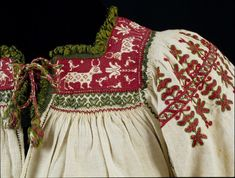 19th Century Woman's blouse of coarse linen embroidered with silk. Andalusia, Spain. Victoria & Albert Museum, London.