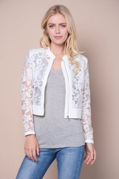 Zippered Floral Lace Jacket