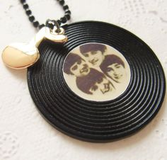 Stock Sales I Love Beatles  Black Chain Necklace with by bysiuc