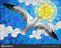 Image result for stained glass mosaic seagull