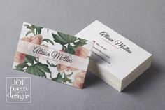 Floral business card design flowers business by 101prettydesigns