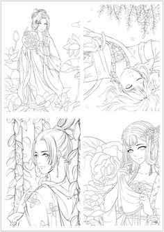 NEW/ colouring book for adults Chinese Portrait Coloring Coloring Pages For Girls, Cartoon Coloring Pages, Colouring Pages, Coloring Sheets, Adult Coloring, Coloring Books, Bujo Doodles, Color Pencil Art, Illustrations