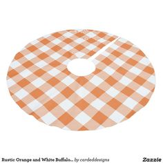 Rustic Orange and White Buffalo Check Plaid Brushed Polyester Tree Skirt