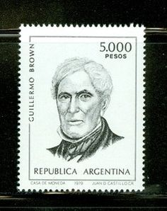 Argentina MNH Selections II: Scott #1262 5000P Guillermo Brown Portrait Stamp Collecting, Postage Stamps, Portrait, Brown, Ebay, Collection, Argentina, Men Portrait, Portrait Illustration