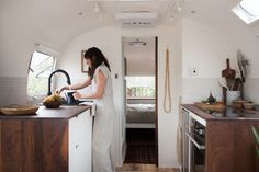 modern caravan airstream remodel kitchen