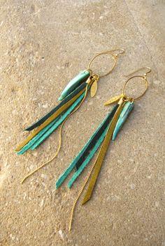 Leather Fringes Long Earrings- Bird of Paradise- Turquoise summer jewelry. $70.00, via Etsy.