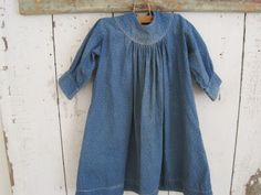 19th Century Primitive Blue White Calico Child's Dress with Two Buttons AAFA | eBay