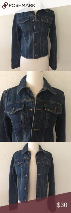 Vintage DKNY Jeans Denim Jacket Classic DKNY cropped dark blue denim jacket from the mid-90's featuring gunmetal buttons, 2 front button pockets, longer sleeves with logo buttons and frayed cuffs and hemline. Excellent pre-loved condition. DKNY Jeans Jackets & Coats Jean Jackets