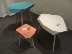 Tables inspired by the material rubber, by Therese Westman and Marie Lindblad