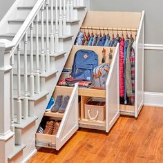 Under Stairs Storage Solutions, Under Stairs Storage Drawers, Staircase Storage, Home Stairs Design, Basement Makeover, House Stairs, Under Basement Stairs, Space Under Stairs, Basement Remodeling