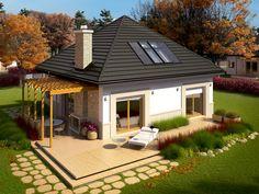 Zwarta bryła budynku, zgrabnie przykryta kopertowym dachem z łatwością wpisze się w przestrzeń każdej, nawet niewielkiej działki.