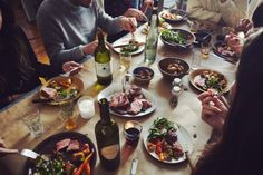 Entertaining   wine, vegetables, bread