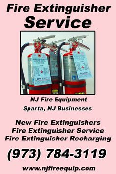 Fire Extinguisher Service Sparta, NJ (973)  784-3119 Call the Experts at NJ Fire Equipment.. We are the complete source for Fire Extinguisher Service for Local New Jersey Businesses We would love to hear from you.. Call us Today!