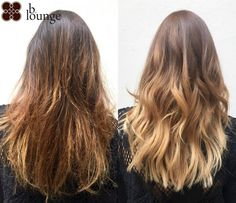 Complete hair lightening and soft caramel balayage before and after /// Komplett… - Modern Balayage Before And After, Hair Toner, How To Lighten Hair, Ombre Hair, Hair Lightening, Salons, Caramel, Short Hair Styles, Vienna
