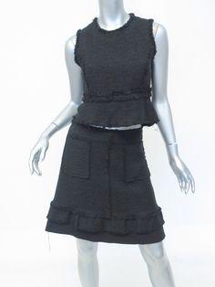 Proenza Schouler Frayed Tweed Peplum Top and A Line Mini Skirt Set Size 4 Black #ProenzaSchouler #SkirtSuit