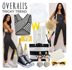 """""""Tricky Trend: Overalls"""" by andrea2andare ❤ liked on Polyvore featuring Bebe, Clinique, Nine West, Kate Spade, J.Crew, Dolce&Gabbana, NARS Cosmetics, Chanel, TrickyTrend and stripes"""