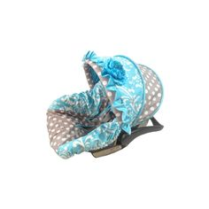 Turquoise Damask Grey Dot Semi-Custom Infant Car Seat Cover | Infant... ❤ liked on Polyvore featuring baby