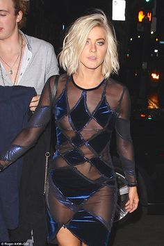 Nip-slip: Julianne Hough suffered an unfortunate wardrobe malfunction when she was pictured leaving the Dancing With The Stars afterparty at Beso in Hollywood on Tuesday evening