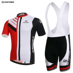Fahion XINTOWN Men Pro Bike Clothing Cycling Jersey Bib Shorts Sets White Red Summer Bicycle Shirts Wear mtb Top Shorts Jacket
