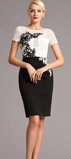 eDressit Lace Applique Knee Length Cocktail Dress