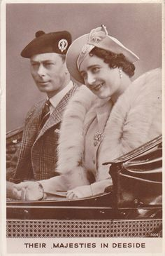 "Photo postcard from 1942 shows King George VI and Queen Consort Elizabeth, ""Their Majesties in Deeside."""
