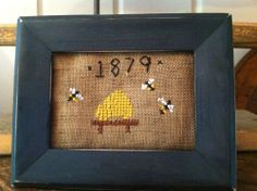 Early Sampler~ Primitive Cross Stitch Bee Hive Beeskep Tuckaway ~ MINI~1879~
