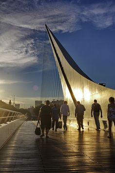 Puente de la Mujer, is a rotating footbridge for Dock 3 of the Puerto Madero commercial district of Buenos Aires, Argentina. Places Around The World, Oh The Places You'll Go, Places To Visit, Around The Worlds, Patagonia, Argentine Buenos Aires, Wonderful Places, Beautiful Places, Magic Places