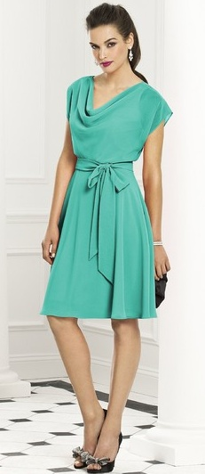 Not sure about the color, but love the neckline - would make a cute bridesmaid dress...and flattering for everyone.