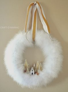 DIY Christmas Wreath using white feather boa.