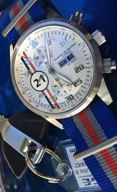 Maurice de Mauriac bespoke Le Mans racing timepiece with three colour Nato strap. Luxury Swiss watches for men and women.