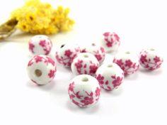Fuchsia Ceramic Beads 12mm Handmade Ceramic Floral by Cchange