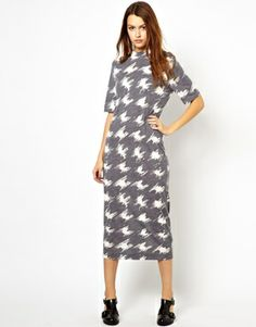 Image 4 of YMC Wool Jersey Dress in Houndstooth