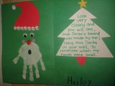 Todays arts & crafts was a handprint Santa w/ a cute poem!