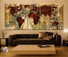 """Original by BoxColors XLARGE 30""""x 70"""" 5 Panels Art Canvas Print Original Wonders of the world Old Brown Sepia Map Wall decor Home interior (framed 1.5"""" depth). Sold by BoxColors From USA - You will receive the Original Image - Sending from the United States - Made in the United States SIZE: 30"""" x 70"""" x 1.5"""" depth (30""""x 14""""x 1.5"""" depth each panel) Type: Giclee artwork, print on the artist cotton Canvas. UV-protective coating.100% cotton. Weight 360gsm Materials :Stretched on a 1.5"""" wooden..."""