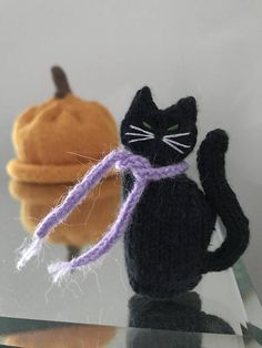 Ready To Ship Hand Knitted Cat Little Black Cat Cat Lovers