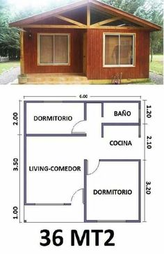 Aldy(casita) Small House Plans, House Floor Plans, Small House Design, Home Design Plans, Small Apartments, Bungalow, Shed, New Homes, How To Plan