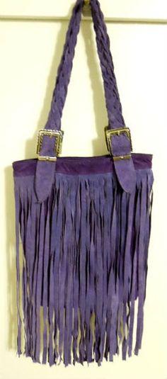 Purple colors Suede Purse with fringe. shoulder bag by Leathersecret 5275426ed6a4c