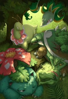 Final Evolutions of Grass Starters from first 5 generations. Chilling in the Forest.