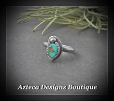 Size 6 Natural Nevada Turquoise Sterling Silver Artisan Ring  by AztecaDesignsBoutique, $70.00 USD