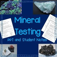 This is an excellent introduction to testing minerals. This 13 slide PPT is jam packed with definitions, examples, and pictures that cover the different mineral tests. Mineral tests included: color, hardness, streak, luster, cleavage, fracture, special properties, and specific gravity. 3 pages of coordinated student notes included, both with blanks and a filled in version.