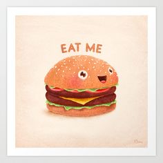 Burger Art Print by Lime - $16.59 I have to admit this print is *Adorbs* ~ :D