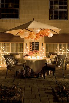 Paper lanterns hanging from umbrella