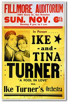 Early Ike and Tina Turner concert poster - 1960 Rock Posters, Band Posters, Vintage Concert Posters, Vintage Posters, Vintage Ads, Tina Turner Concert, Ike And Tina Turner, Sophie Turner, Historia Universal